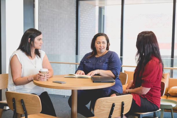 Three female business women in meeting. Diversity in work place with mixed caucasian and maori ethnicities. stock photo