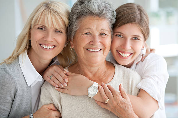 three female generations. - three people stock photos and pictures
