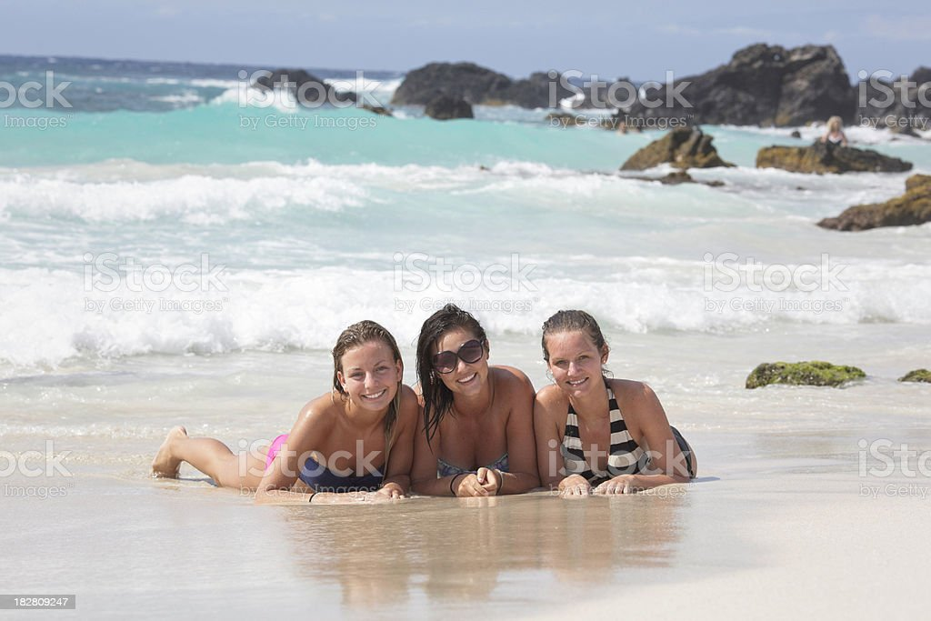 Three Female Teenagers on Beach royalty-free stock photo