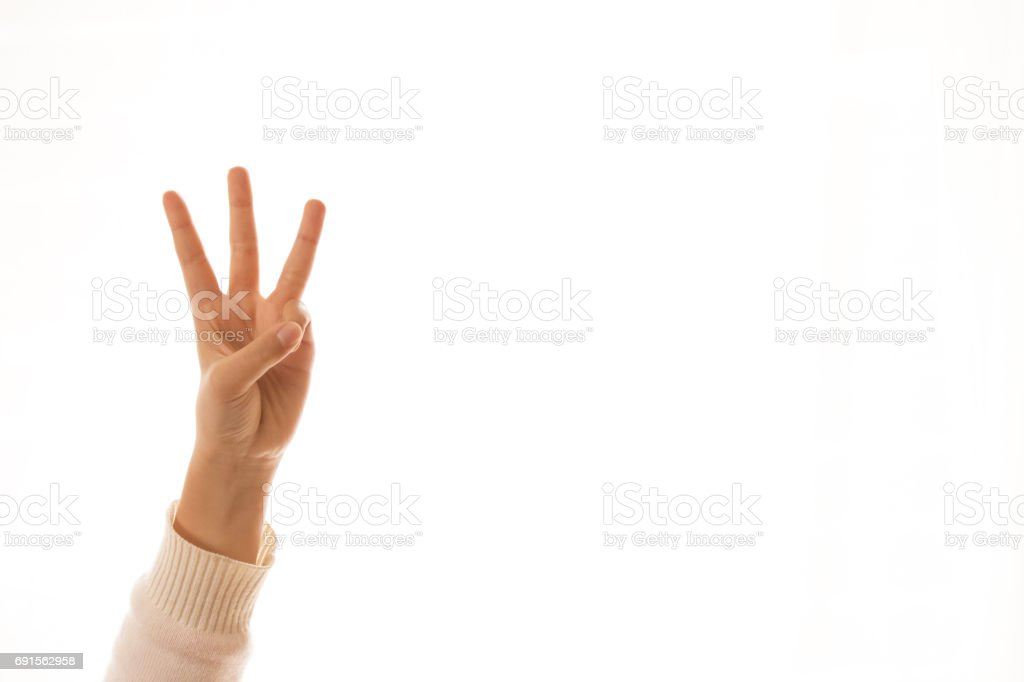 three finger counting sign,image of a children'sfinger pointing stock photo
