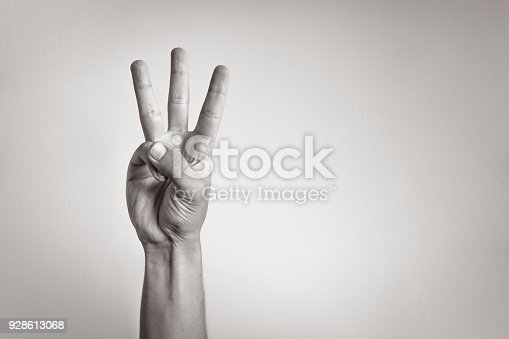 Hand showing three finger.