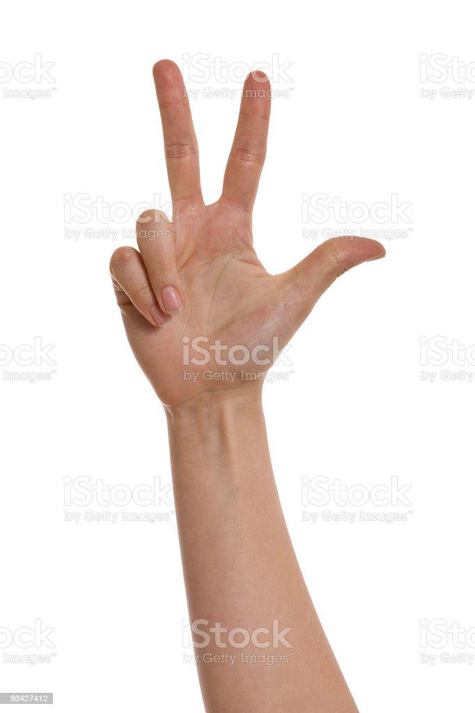 three fingers royalty-free stock photo