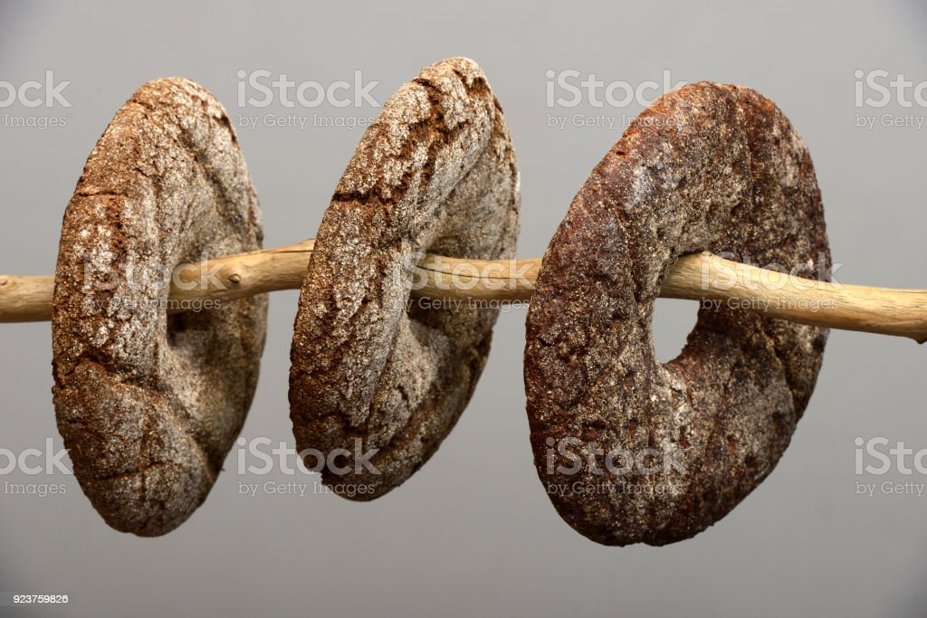 three finnish round rye bread on a neutral background stock photo