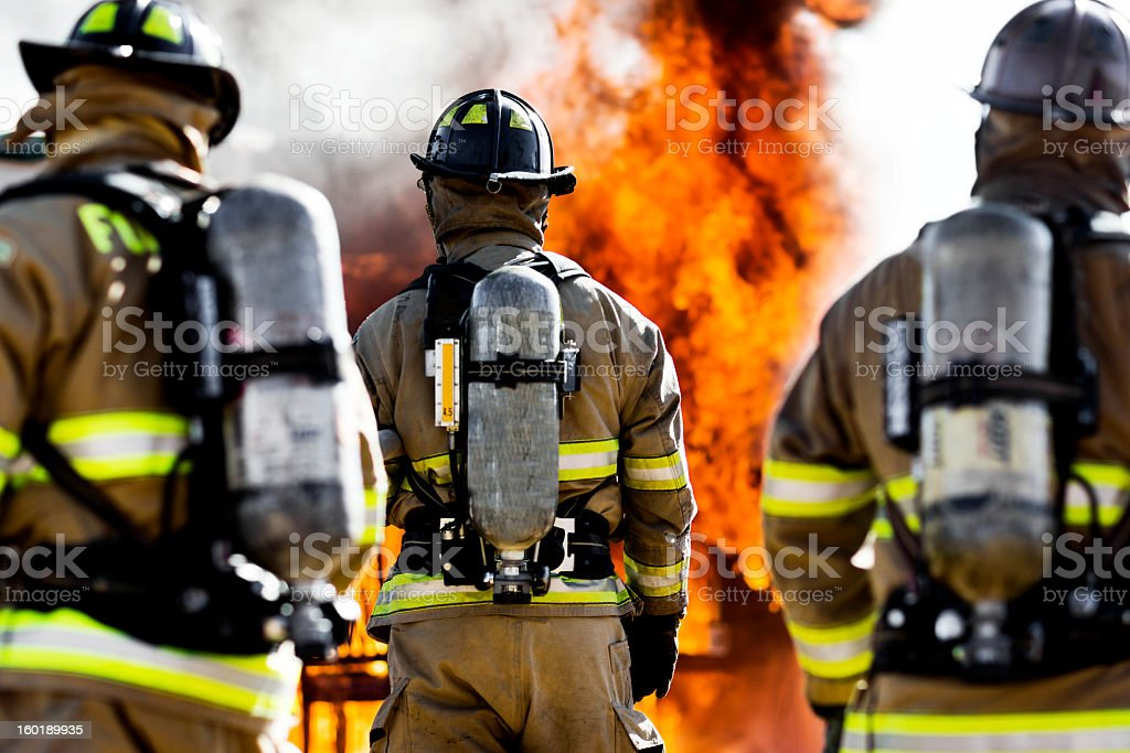Three Firefighters stock photo
