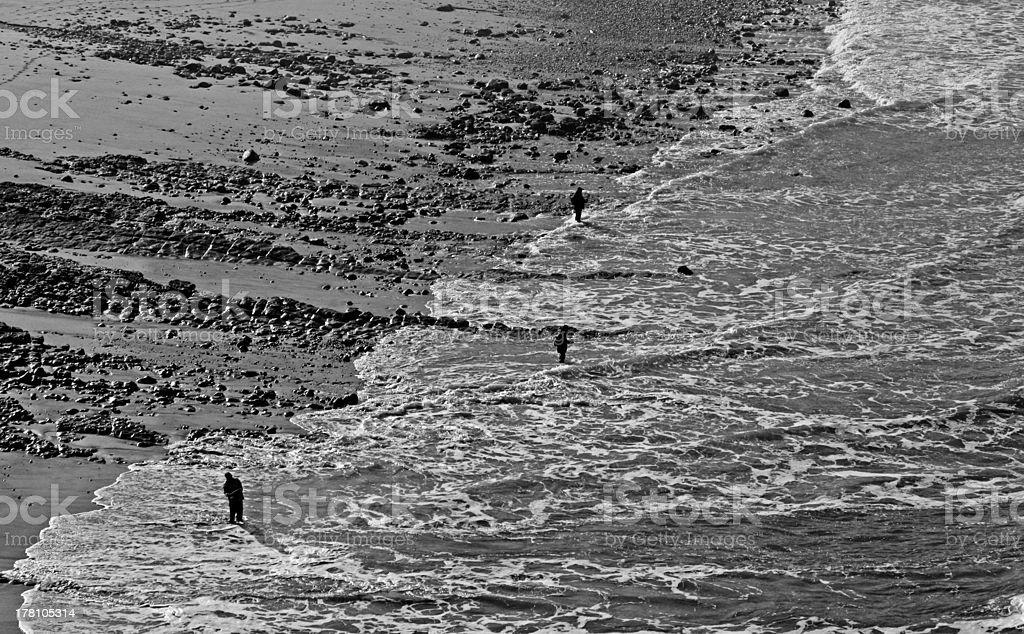 Three fisherman stock photo