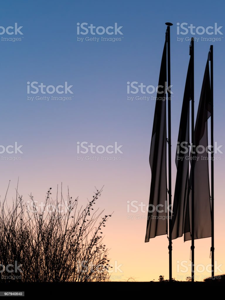 Three flags before sunrise backlit in winter stock photo