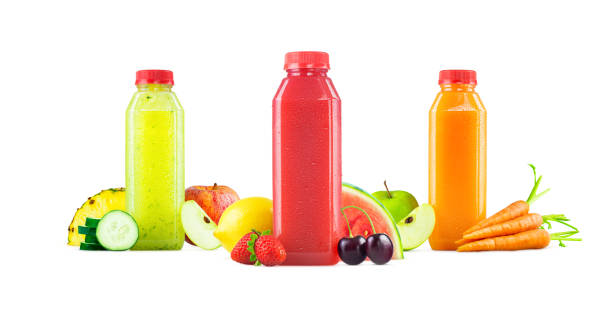 three flavors of freshly squeezed fruit and vegetable juice in generic bottles isolated on white background - fruit juice bottle isolated foto e immagini stock