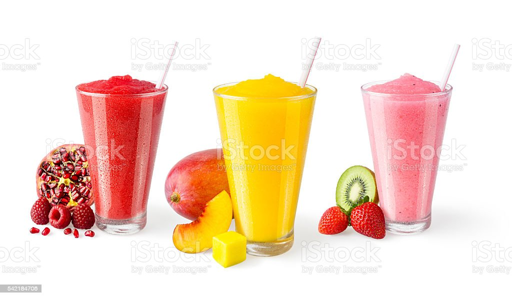 Three Flavors of Fruit Smoothies in Glasses on White Background stock photo