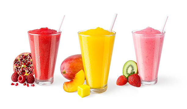 three flavors of fruit smoothies in glasses on white background - gefrorenes obst tassen stock-fotos und bilder