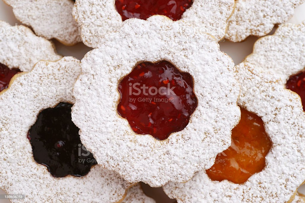Three Flavors of Linzer Torte Cookies stock photo