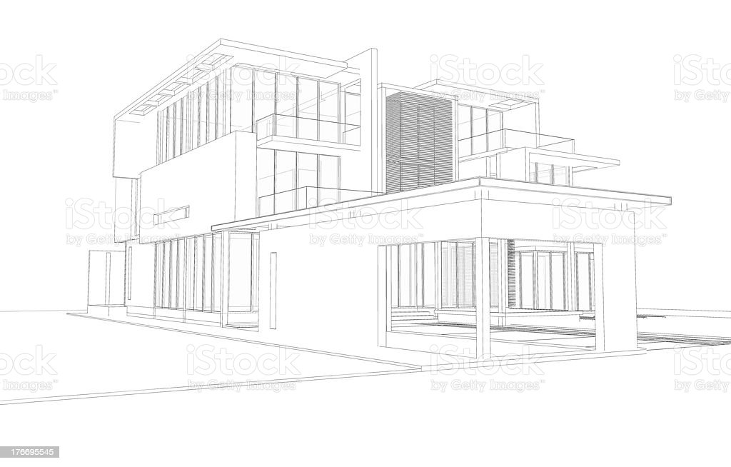 Simple Wireframe 3d House - DATA WIRING •