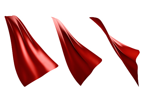 istock Three flowing style red cape hero isolated 1022077712