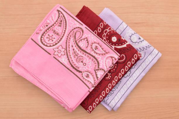 Three folded bandanas stock photo