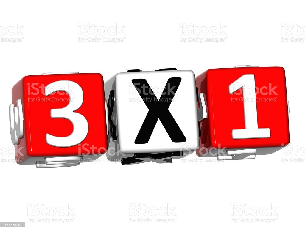 3D Three For One Button Click Here Block Text stock photo