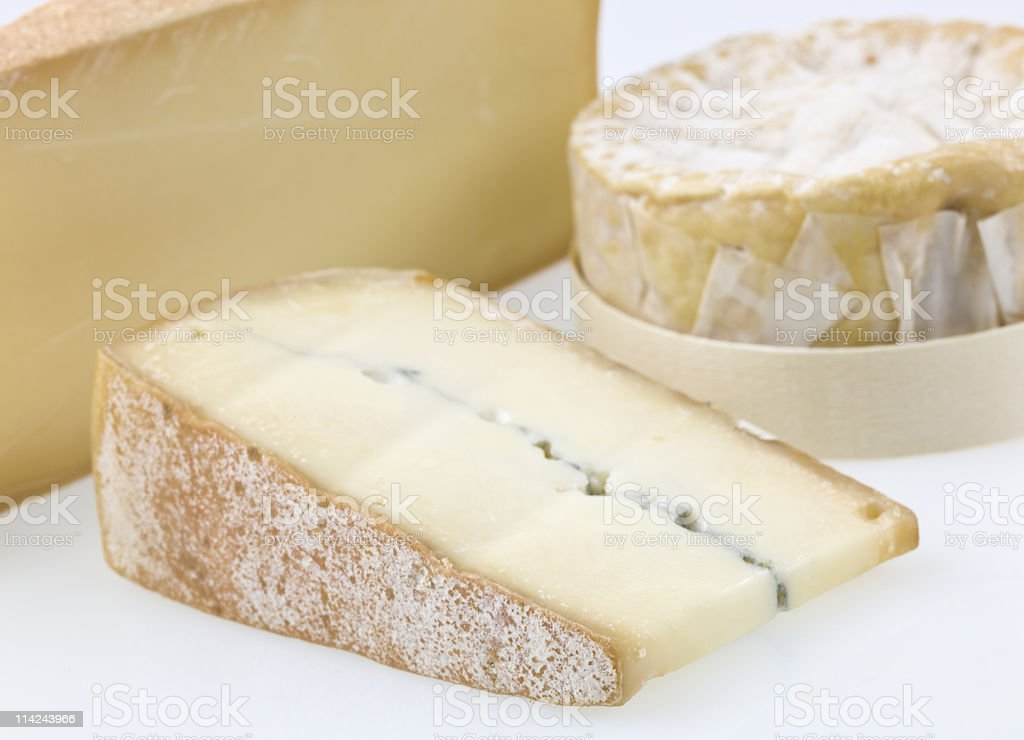 Three french cheeses royalty-free stock photo