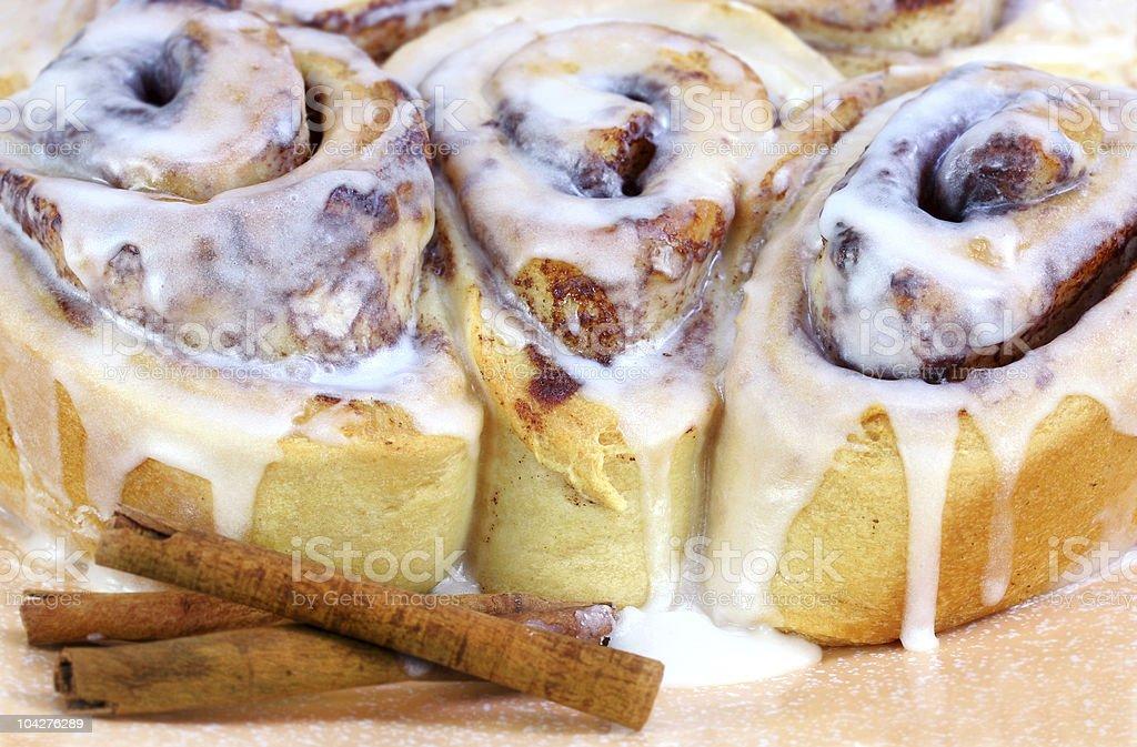 Three Fresh Baked Cinnamon Buns royalty-free stock photo