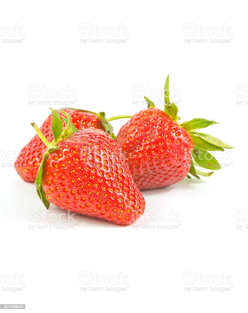 three fresh red strawberries photo libre de droits
