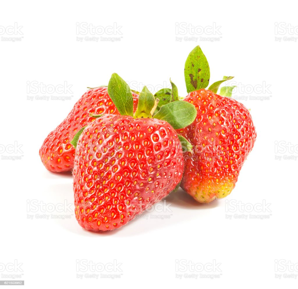 three fresh red strawberries foto stock royalty-free