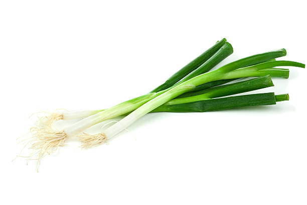 Three fresh spring onions on a white background stock photo