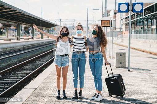 Three friends enjoying a trip together during Covid-19 coronavirus pandemic. They are wearing protective facemasks.