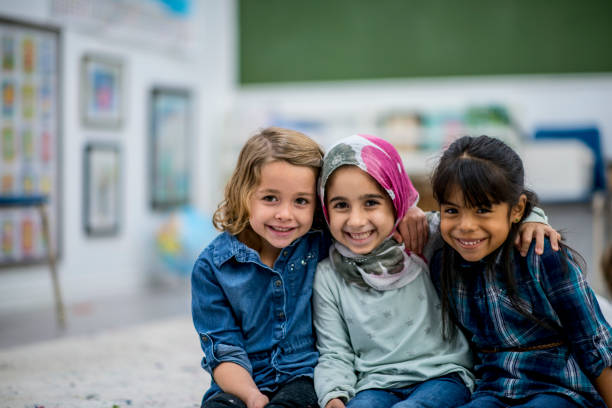 three friends - arabic girl stock photos and pictures