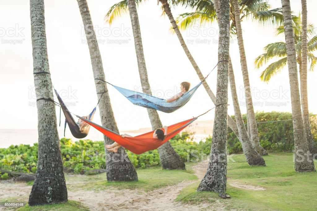 Three friends relaxing in hammocks in a tropical location stock photo