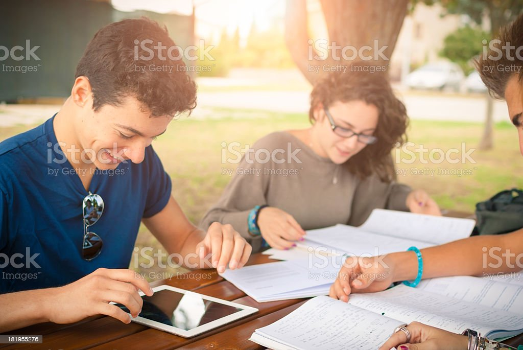 Freunde Studium im Freien Lizenzfreies stock-foto