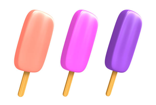 three frosty berry flavored ice cream popsicles isolated on white background, 3d rendering - icon set healthy foto e immagini stock