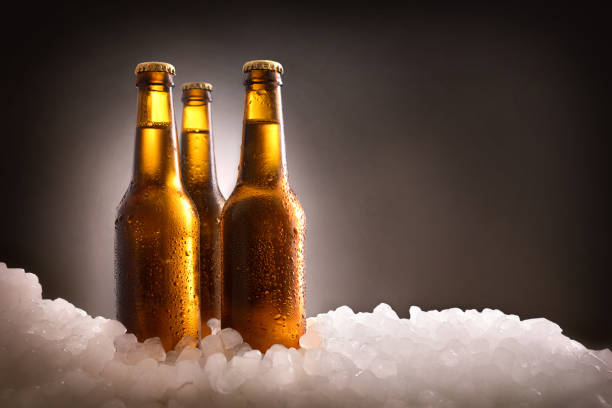 Three full beer bottles on ice and dark background stock photo