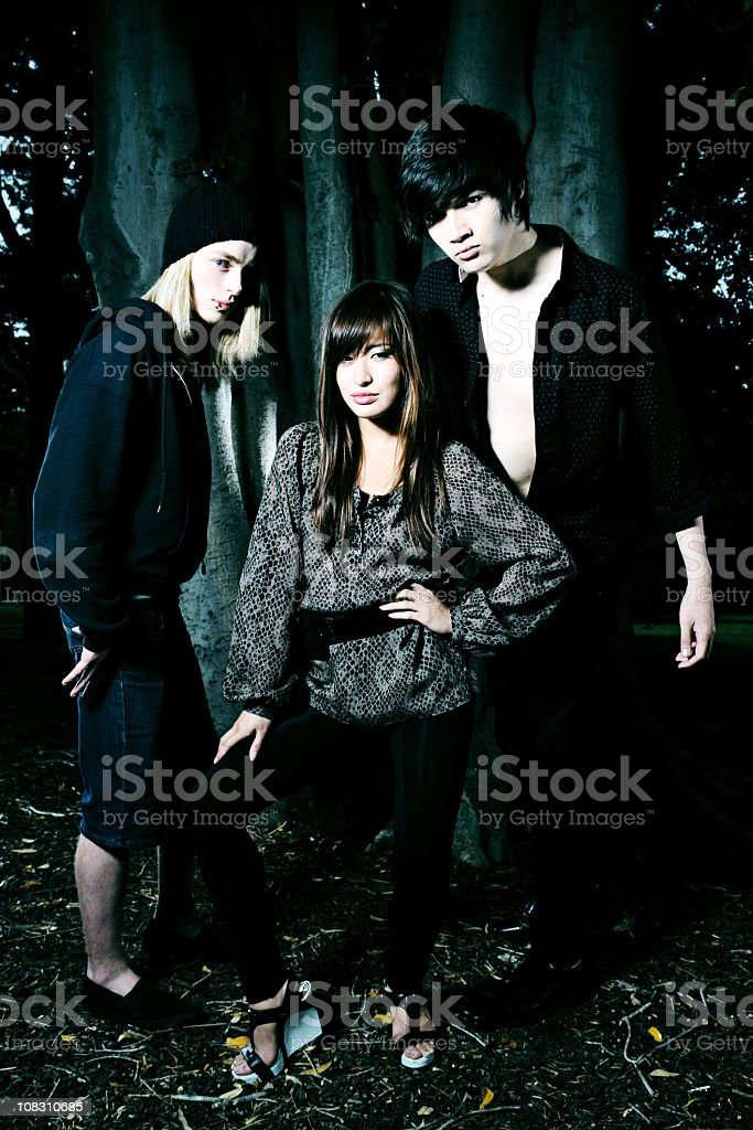 Three Funky Youths Outdoors At Twilight royalty-free stock photo