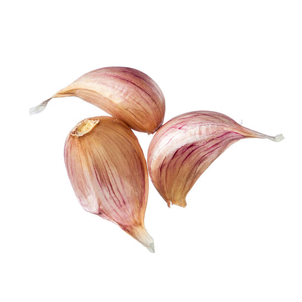 Tres dientes de ajo aislado sobre fondo blanco - foto de stock