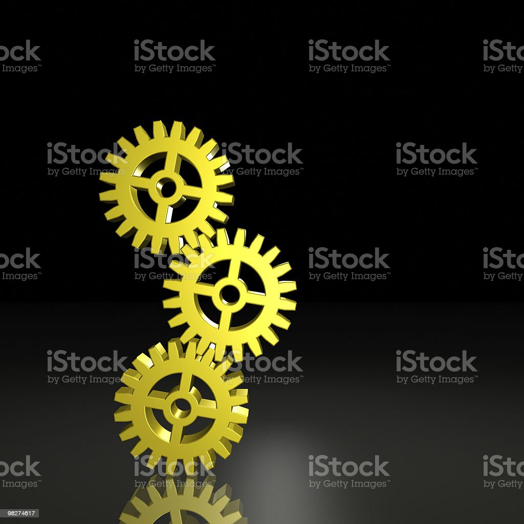 Three Gears Balanced Together royalty-free stock photo