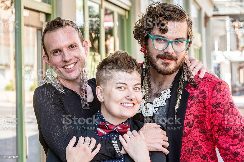 Three Gender Fluid Friends stock photo