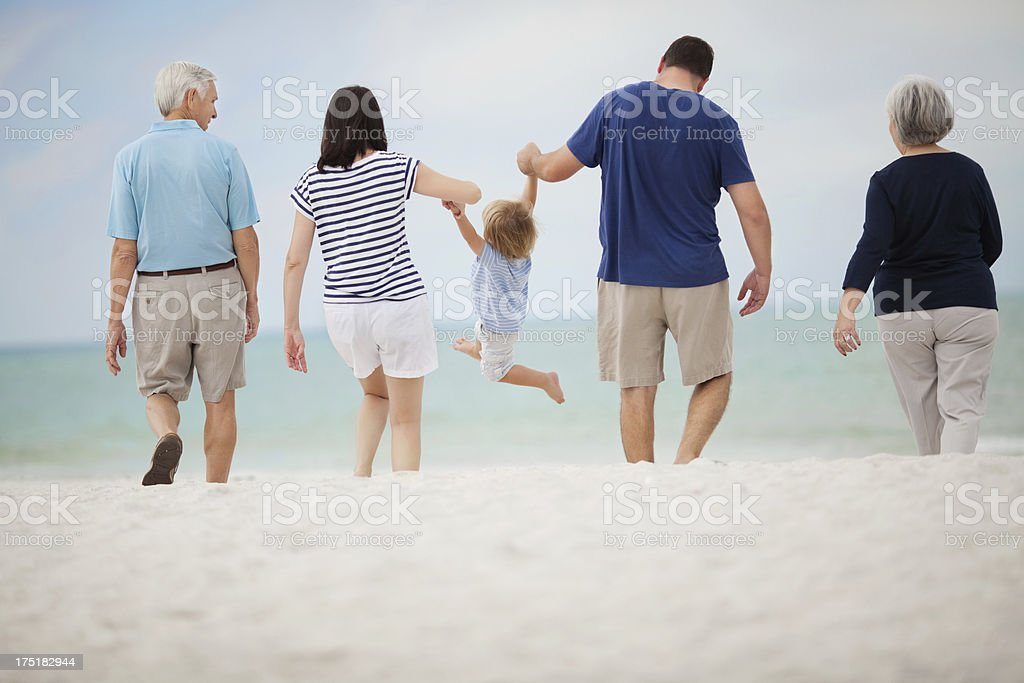 Three Generation Family At Beach royalty-free stock photo