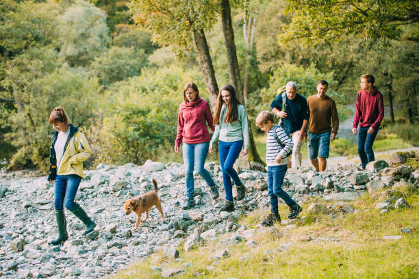 Three Generation Family Hiking through the Lake District stock photo