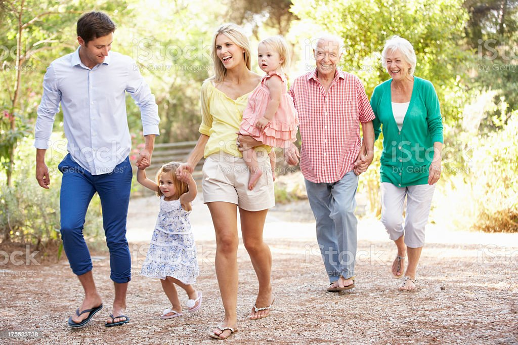 Three Generation Family On Country Walk Together royalty-free stock photo