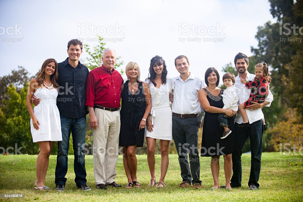Three Generation Family Portrait stock photo
