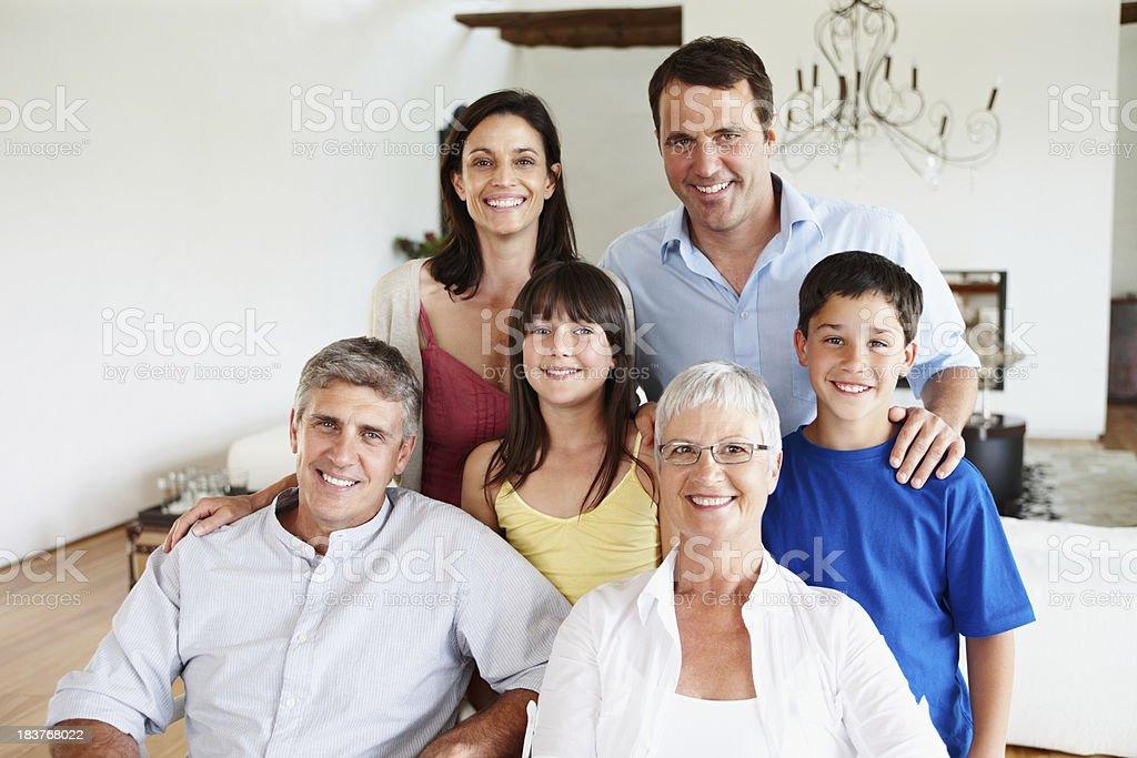 Three generation family smiling royalty-free stock photo
