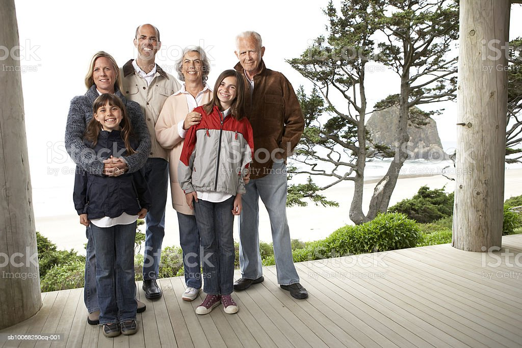 Three generation family smiling, portrait royalty-free stock photo