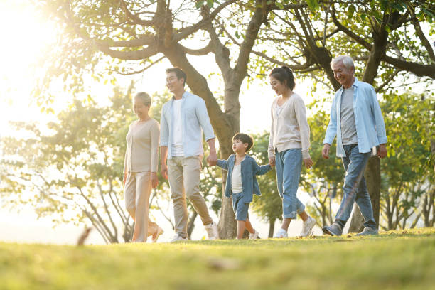 three generation family walking outdoors in park - cultura cinese foto e immagini stock