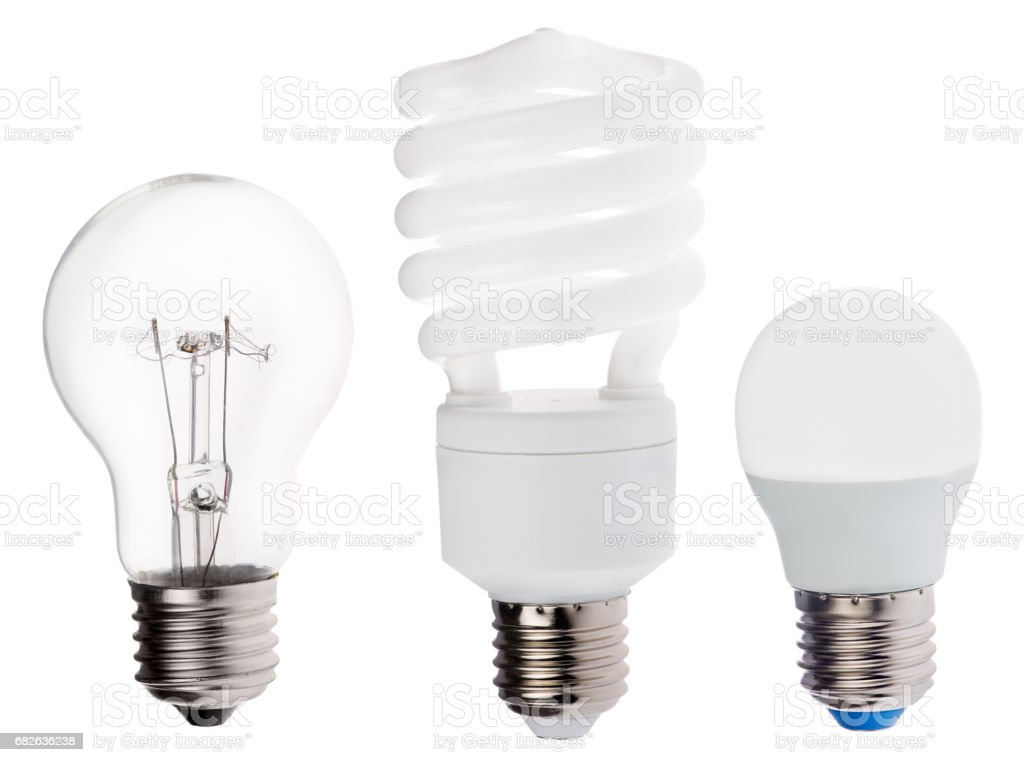 three generation of electric lamps isolated on white stock photo