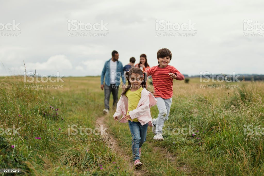 Three Generation Out Walking stock photo