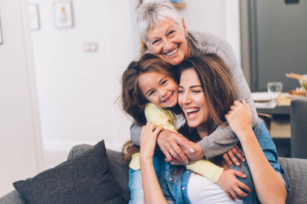 three generation women - daughter stock photos and pictures