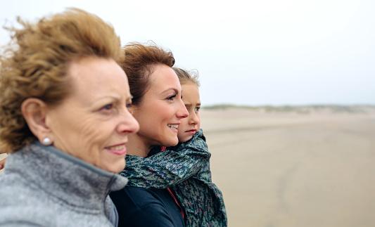 istock Three generations female looking at sea 855089326
