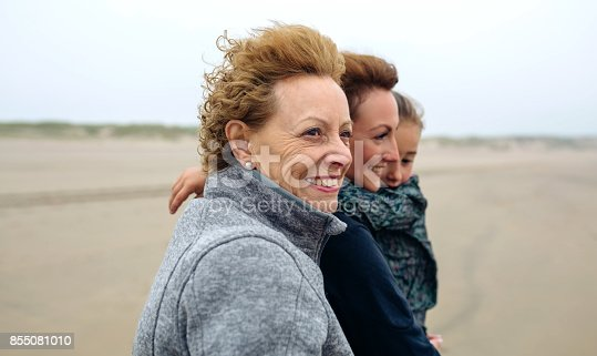 istock Three generations female walking on the beach 855081010