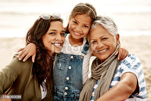 istock Three generations of beautiful smiles 1166350039