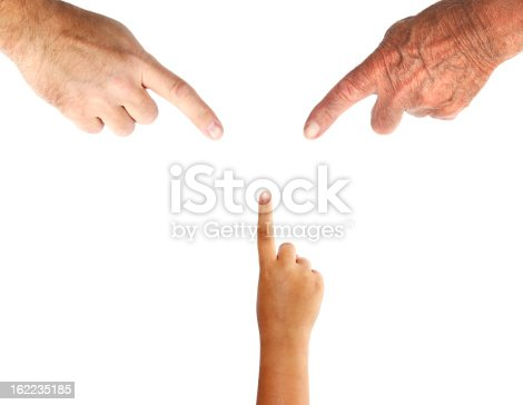 Three Generations of Hands with Pointing Finger.