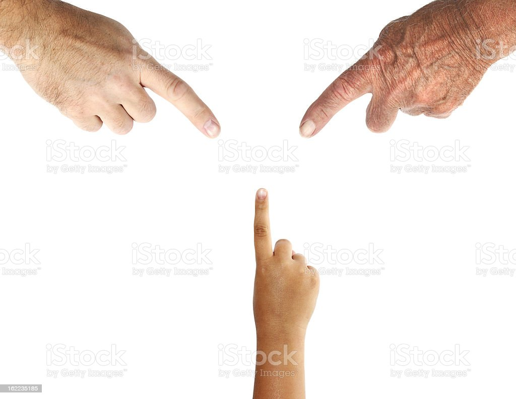 Three Generations of Hands with Pointing Finger stock photo