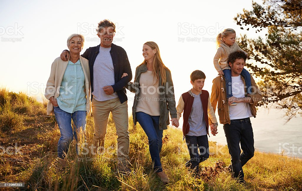 Three generations of happiness stock photo