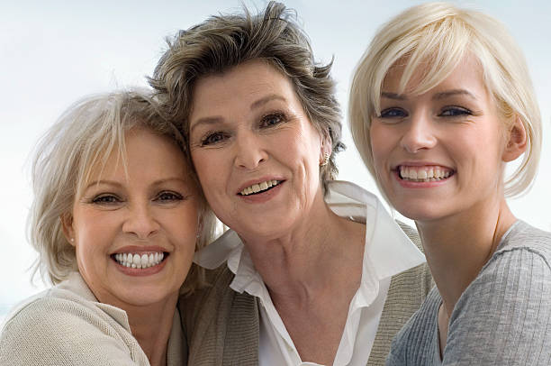 three generations of women - three people stock photos and pictures